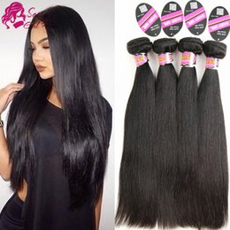 Indian Straight Hair Girls Canada - Brazilian Straight Hair Weaves 4pcs lot Virgin No Remy Human Hair Bundles Extensions Machine Double Weft Natural Color SASSY GIRL