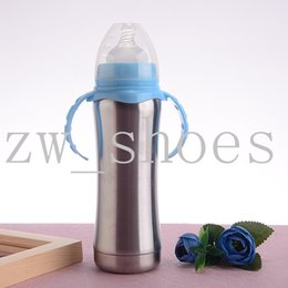 Wholesale 8oz ml Stainless Steel Infant Bottle vacume Insulated baby bottle With Silicone Medium flow Nipple Bpa Free