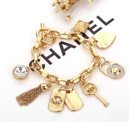 Marca chave pulseiras com amor coração gem 925 prata esterlina ou banhado a ouro pingentes Charm Bracelets Bangle inoxidável jóias
