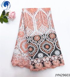 China white african lace fabric 2018 high quality lace french mesh fabric beaded stones nigerian Tulle lace fabrics for dress JYN296 cheap colored beaded lace fabric suppliers