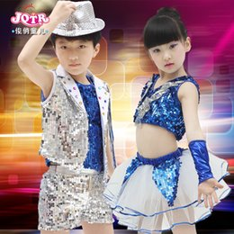 eacd064f4 2016 Ballroom Dance Dress Girl Boys Jazz Modern Costumes Kids Sequined Hip  Hop Dress Stage Performance Dancewear For Children