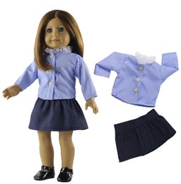 dd9aec45906e Long Sleeve Checked Shirt   Mini Skirt Set Outfit Clothes for 18 Inch American  Girl My Life Journey Doll Accessories