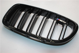 Discount bmw series black kidney grills A Pair 5 Series F10 Glossy Black Dual Slat M5 Style Front Kidney Grille Grill For BMW F10 520i 523i 525i 530i 535i 2010+
