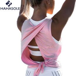 $enCountryForm.capitalKeyWord NZ - Women's Shirt Irregular Backless Sexy Breathable Quick Dry Tied Top Female Summer Sport Solid Gym Female Tank T-shirt HWA1222-45