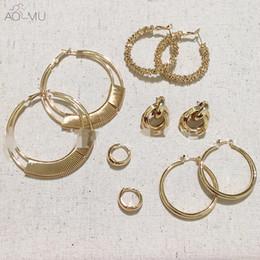 da2165bbcc 7 Foto Cerchi disegno in vendita-Intera venditaAOMU Design metallo placcato  oro orecchini hiphop grande cerchio grande