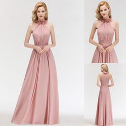 cheap elegant designer dresses 2019 - Cheap Elegant Blush Pink Bridesmaid Dresses Long Floor Length Chiffon Ruched Sleeveless Formal Evening Prom Party Gown U