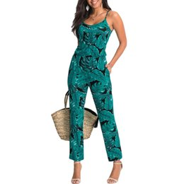 Wholesale tight bandage jumpsuits for sale – dress Green Leaf Printed Women Summer Beach Rompers Backless Jumpsuits Tight Long Pants Sexy V neck Bandage Vintage Playsuits YF975
