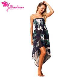 91a21017dc67 Dear Lover Summer Holiday Bohemian Ladies Chiffion Tropical Leaf Print Navy  Convertible Beach Dress Boho Vestidos Longo LC42278