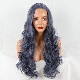 $enCountryForm.capitalKeyWord Australia - Lace Front Wigs picture color Dyed Hair Mixed Gray Ombre Heat Resistant Fiber Smokey Dark Grey Long Body Wave Glueless Synthetic Lace Front