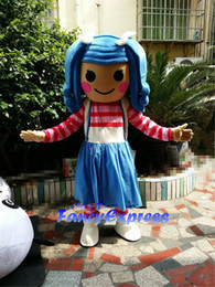 Adult Girl Halloween Costumes Canada - Hot Lalaloopsy Girl Mascot Costume Blue Hair Girl Halloween Party Dress Adult Size Free Shipping