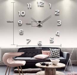 walls watches 2018 - Big Number Mirror Wall Clock Modern Design Large Designer Wall Clock 3D Watch Wall Unique Gifts Home Decoration cheap wa