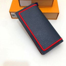 weave long 2019 - New fashion designer wallet square MULTIP men suit wallet with woven edge fashion modern style top leather wallet 63257