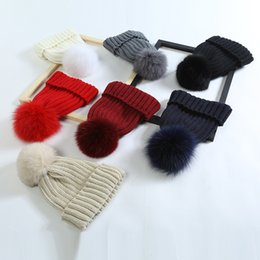 Knitted Hair Hat NZ - 2018 Autumn And Winter New Pattern Fox Hair Ball Knitting Cap Ma'am Outdoors Keep Warm Hats Custom-made Cold Prevention Wool Yarn Cap A104