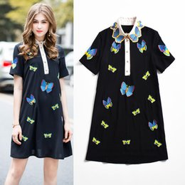 butterfly polo Australia - Casual Women's Summer Dress robe femme Butterfly Embroidery Polo collar Short Sleeve Runaway Dress vestidos verano 2018