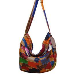 Leather Housing UK - SFG HOUSE Genuine Leather Soft Luxury Women Shoulder Bag Irregular Pattern Patchwork Retro Women Bags Casual Cross Body Bag
