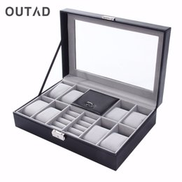 Box Jewelry Storage Organizer Black Australia - OUTAD Watch Winder Luxury Boxes Casket Grids+3 Mixed Grids PU Leather Black Jewelry Ring Display Case Storage Organizer