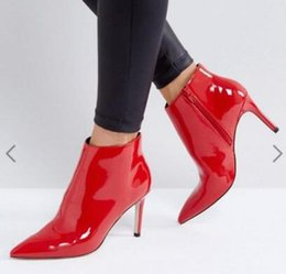 $enCountryForm.capitalKeyWord NZ - 2018 spring fashion women red boots zip up boots women ankle booties thin heel red leather boots ladies dress shoes point toe