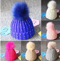 Baby Boy Skull Crochet Beanies Australia - 8 color baby pompom hat Knitted Diamonds Hats Fur Pom Pom Beanie Shinning Bling Crochet Caps Winter Kids Boy hat 0-3 years KKA6245