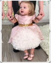 Images for lovely baby online shopping - Lovely Pink Tulle Baby Infant Toddler Baptism Gown Flower Girl Dresses Sequin Lace Tutu Ball Gowns for Wedding Party First Communion Gown