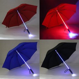 plastic light shades 2019 - Colourful Umbrellas Luminescent Manual Led Light Rain Originality Flash Acrylic Plastic Rod Safety Night Protection Hot