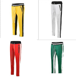 China new style yellow white fog zipper pants hip hop Fashion urban clothing red green bottoms fear of god jogger justin bieber pants cheap urban style clothing men suppliers