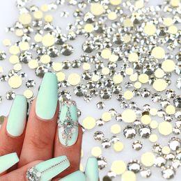 Diamond Base Australia - Art Rhinestones Decorations 1440pcs pack White Crystal Rhinestones Nail Art Tips Sticker Gold Base Glass Flatback Diamond Nail Decor ND284