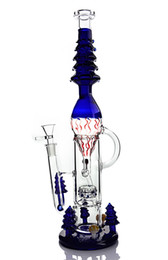 $enCountryForm.capitalKeyWord UK - 16 Inches Blue Forest Glass Bong Handmade Tree Hookah Thickness Base Vapor Water Pipe 14mm Joint Hookah Glass Bongs