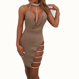 2018 Sexy Women Halter Crystal Sequin Dress Backless Metallic Diamond  Bandage Club Bodycon Party Christmas Dresses 756e154d74b4