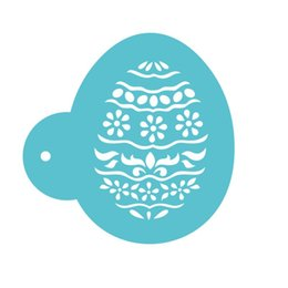 plastic easter eggs wholesale UK - Easter Egg Coffee Art Template Laser Cut Convenient Cleaning Cookie Stencils Fondant Cake Printing Mold New Arrival 7 2yb B