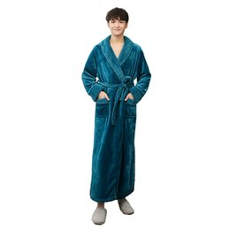 3d5460e372 Men Flannel Robes UK - Long Sleeve Male Winter Bathrobe Flannel Sleepwear  Solid Color Kimono Robe