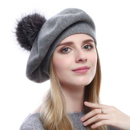 4266bcae Winter Women Casual Berets Autumn Winter Girl's Cap High-end Caps Thick Warm  Raccoon Fur Pom Pom Knitted Cashmere Berets Hats