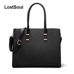$enCountryForm.capitalKeyWord Canada - LostSoul brand women leather handbags toothpick stripes briefcase Top-Handle bags designer business shoulder ladies totes black