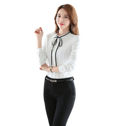black white canvas prints UK - Plus Size Chiffon Women Blouses Bow Straps Collor Long Sleeve O-Neck Winter Shirts XXXL 4XL Blusas bluse Blue White Black