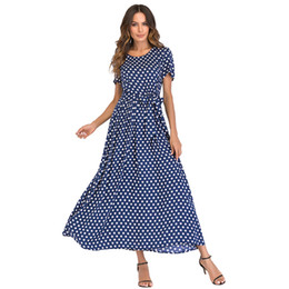 Dot Line Dress Canada - Fashion Women Long Polka Dot Dress Short Sleeves High Waist XXXL 4XL 5XL Plus Size Dress Tie A-Line Vintage Maxi Chiffon Dress