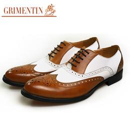 Grimentin Shoes UK - GRIMENTIN Hot sale brand mens oxford shoes Italian fashion men dress shoes genuine leather black-white formal business office mens shoes
