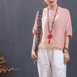 7a7c22a098f EmbroidEry linEn shirt online shopping - 2018 summer new cotton Linen short  sleeved doll t shirt