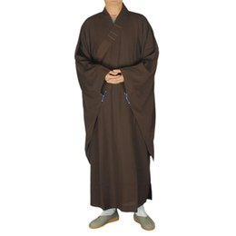China Shanghai Story buddhist Wooden hooks suits clothes lay clothing Monk robes Brown lay Bodhisattva precepts mann garment unisex famous brand cheap monk clothes suppliers