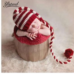 Baby knitting Long Tails Christmas Hat Newborn Photography Props Red White  Stripe Crochet Baby Hats Baby Props For Photography 788be646748