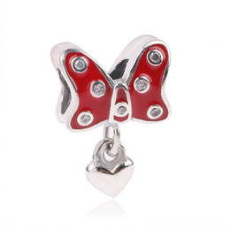 $enCountryForm.capitalKeyWord NZ - Authentic 925 Sterling Silver Dangle Charms Red Glazed Butterfly With Clear Crystal Pendant Beads Fit Women Bracelets & Bangles DIY Jewelry
