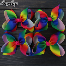 wholesale large alligator hair clips NZ - Girls 6 Large Boutique Rainbows Bow With Alligator Clips Grosgrain Ribbon Hair Bows Accessories For Teens Kids Toplay 10pcs  Lot