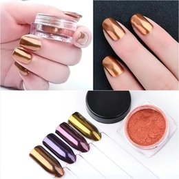mermaid boxes NZ - 1 Box Gold Mermaid Nail Glitter Powder Rose Gold Pearl Shell Shimmer Powder Pigment Gradient Glimmer Dust Nail Art Decorations