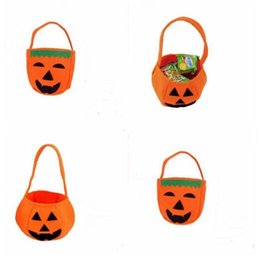 Discount kids scary costumes - Smile Pumpkin Bag Kids Candy Bag Handbag Halloween Holiday Halloween Clothing Scary Costumes Party Accessory Bags Free S