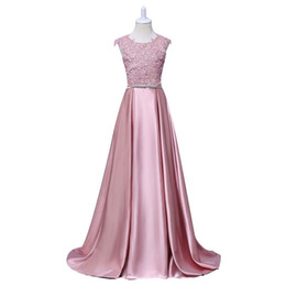 China Jewel Pink Satin Shiny Appliques Lace Sash Bow A line Sweep Train Elegant Beautiful Evening Dresses Evening Gown New Coming cheap beautiful elegant evening gowns suppliers