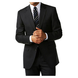 Wholesale tailor suits resale online - 2018 Classic Style Men Suits Custom Made Black Wedding Suits Tailored Business Suit With Button Notch Lapel Groom Prom Jacket Pants