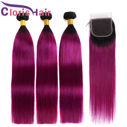 Discount two toned purple hair weave - Ombre Human Hair Bundles With Lace Closure Two Tone 1B Purple Straight Brazilian Malaysian Virgin Hair Extension Colored