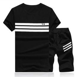 China 2018 Summer Set Men Causal Beach Suits Short Sleeve Shorts 2PCS Sweatsuit+Pants Fashion Tracksuit Mens Sportsuits T shirt+Shorts supplier sweatsuit men suppliers