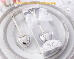 gift boxes for knives UK - Tea Time Heart Love Tea Infuser in Elegant White Gift Box for Tea themed wedding favors and gifts 25Pcs lot Free shipping