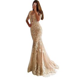 Cheap Strapless Trumpet Wedding Dresses UK - 2018 Champagne tulle dress lace mermaid wed dress backless Sexy cheap long sleeve prom dress organza quinceanera prom party gown