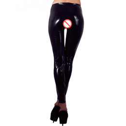 $enCountryForm.capitalKeyWord NZ - Sexy Women Open Crotch Faux Leather Leggings Skinny Exotic Pants Wetlook Black Vinyl Gothic Stripper Pole Dance Fetish Pants W870338