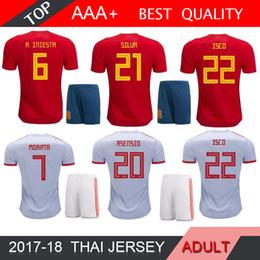 5122770a0 MORATA ISCO ASENSIO Spain ADULT kit home Away Soccer Jersey 2018 world cup  Spain home soccer shirt 2018 RAMOS PIQUE Football SHIRT